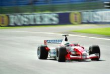TOYOTA F1 TF102 McNish at speed Silverstone. Photo.